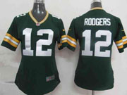 women  nfl Green Bay Packers #12 Aaron Rodgers green game jersey