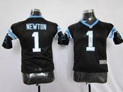 youth nfl Carolina Panthers #1 Cam Newton black game jersey