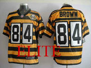 mens nfl Pittsburgh Steelers #84 Antonio Brown yellow&black 80th jersey
