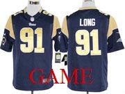 Mens Nfl St. Louis Rams #91 Long Blue Game Jersey