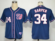 Mens mlb washington nationals #34 bryce harper blue (cool base) Jersey