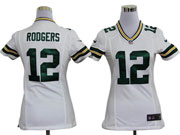 women  nfl Green Bay Packers #12 Aaron Rodgers white game jersey