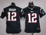 youth nfl New England Patriots #12 Tom Brady blue game jersey