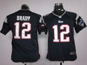 youth nfl New England Patriots #12 Tom Brady blue game jersey