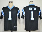 mens nfl Carolina Panthers #1 Cam Newton black game jersey