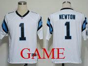 mens nfl Carolina Panthers #1 Cam Newton white game jersey