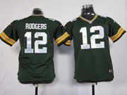 youth nfl Green Bay Packers #12 Aaron Rodgers green game jersey