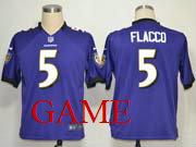 Mens Nfl Baltimore Ravens #5 Joe Flacco Purple Game Jersey