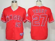 Mens Mlb Los Angeles Angels #27 Mike Trout Red Jersey