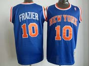 Mens Nba New York Knicks #10 Frazier Blue Hardwood Throwback Jersesy
