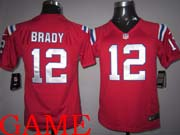 youth nfl New England Patriots #12 Tom Brady red game jersey