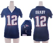 women  nfl New England Patriots #12 Tom Brady blue draft him ii top jersey