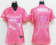 women  nfl New England Patriots #12 Tom Brady pink fem fan jersey
