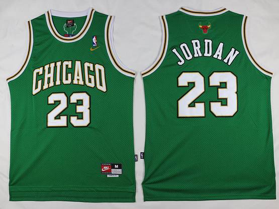 Mens   Nba Chicago Bulls #23 Michael Jordan Green Mesh Jersey