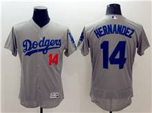 mens majestic los angeles dodgers #14 enrique hernandez gray Flex Base jersey
