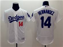 mens majestic los angeles dodgers #14 enrique hernandez white Flex Base jersey