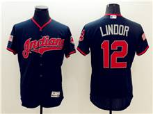 mens mlb cleveland indians #12 francisco lindor navy blue fashion stars stripes Flex Base jersey