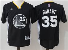 Mens Adidas Golden State Warriors #35 Kevin Durant Black (short Sleeve) Jersey