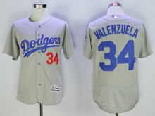 mens majestic los angeles dodgers #34 fernando valenzuela gray Flex Base jersey