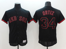 mens majestic boston red sox #34 david ortiz black fashion Flex Base jersey