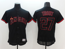 Mens Majestic Los Angeles Angels #27 Mike Trout Black Fashion Flex Base Jersey
