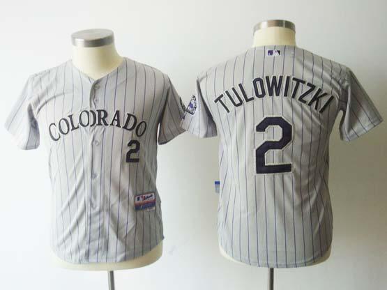 Youth Mlb Colorado Rockies #2 Tulowitzki Gray(black Stripe) Jersey