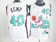 Mens Nba 1996 All Star Seattle Supersonics #40 Kemp White Hardwood Classic Jersey(m)
