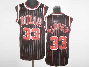 Mens Nba Chicago Bulls #33 Pippen Black Red&stripe Revolution 30 Mesh Jersey