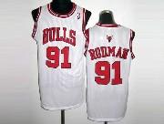 Mens NBA Chicago Bulls #91 RODMAN WHITE Revolution 30 MESH JERSEY
