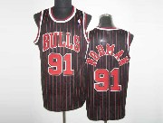 Mens Nba Chicago Bulls #91 Rodman Black (red Stripe) Revolution 30 Mesh Jersey