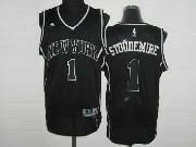 Mens Nba New York Knicks #1 Stoudemire Black&black Number Revolution 30 Mesh Jersey