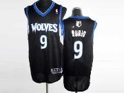 Mens Nba Minnesota Timberwolves #9 Rubio Black Revolution 30 Mesh Jersey