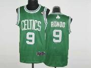Mens NBA Boston Celtics #9 RONDO GREEN&WHITE NUMBER Revolution 30 MESH JERSEY