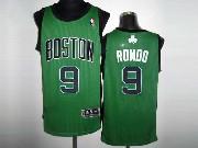 Mens NBA Boston Celtics #9 RONDO GREEN&BLACK NUMBER Revolution 30 MESH JERSEY
