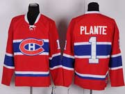 Mens nhl montreal canadiens #1 plante red (ch) throwbacks Jersey