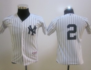 youth mlb new york yankees #2 jeter white (no name) Jersey