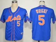 Mens mlb new york mets #5 wright blue (cool base) Jersey