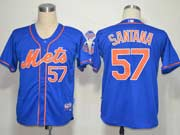 Mens mlb new york mets #57 santana blue (cool base) Jersey
