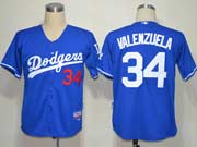 Mens mlb los angeles dodgers #34 valenzuela blue Jersey