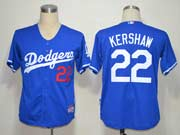 Mens mlb los angeles dodgers #22 kershaw blue Jersey
