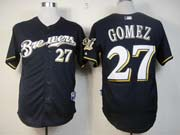 Mens Mlb Milwaukee Brewers #27 Gomez Blue Jersey (cool Base)
