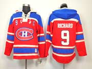Mens nhl montreal canadiens #9 richard red with c hoodie Jersey