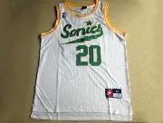 Mens Nba Seattle Supersonics #20 Payton Full White Jersey (m)