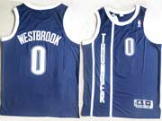 mens nba Oklahoma City Thunder #0 Russell Westbrook dark blue revolution 30 mesh jersey