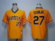 Mens Mitchell&ness Mlb Pittsburgh Pirates #27 Tekulve Yellow Throwbacks Pullover Jersey