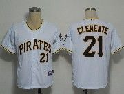 Mens mlb pittsburgh pirates #21 roberto clemente white Jersey