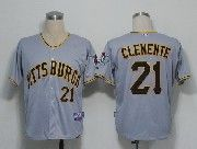 Mens Mlb Pittsburgh Pirates #21 Roberto Clemente Gray Jersey