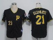 Mens mlb pittsburgh pirates #21 roberto clemente black Jersey