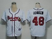 Mens mlb atlanta braves #48 hanson white Jersey