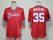 Mens mlb atlanta braves #35 niekro red throwbacks Jersey